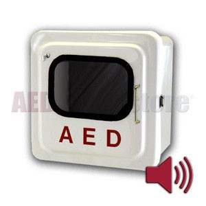 Outdoor White AED Cabinet with Audible Alarm