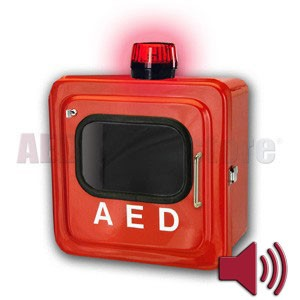 Outdoor Red AED Cabinet with Audible Alarm and Strobe Light