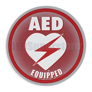 "AED Equipped Facility Window/Wall Decal for Resale - 4"" Diameter"