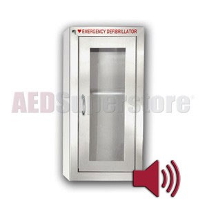 Tall Stainless Steel AED Cabinet with Audible Alarm