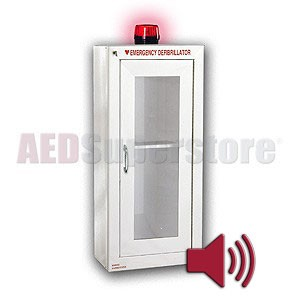 Tall AED Cabinet with Audible Alarm and Strobe Light