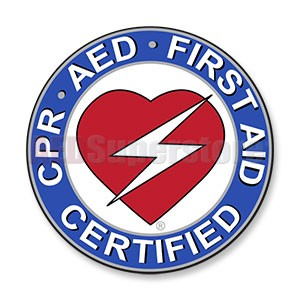 "CPR/AED/First Aid Round Decal - 2.5"" Diameter"