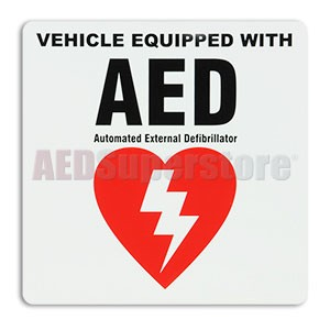 """Vehicle Equipped"" Sticker by Defibtech"