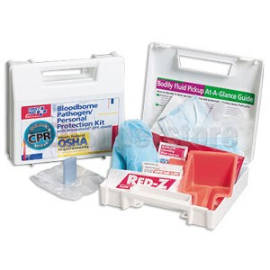FAO 25 Piece Bloodborne Pathogen/Personal Protection Kit w/Microshield® CPR Face Shield, Plastic Case