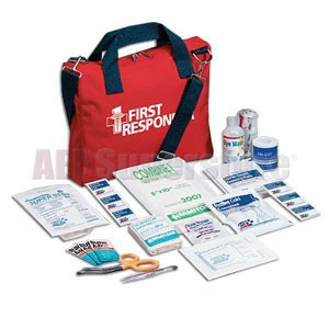 FAO First Responder Kit - 120 piece, Red Cordura Bag w/Handle & Shoulder Strap