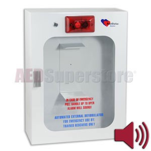 HeartStation Standard Size Surface-Mount AED Cabinet with Audible Alarm and Strobe Light