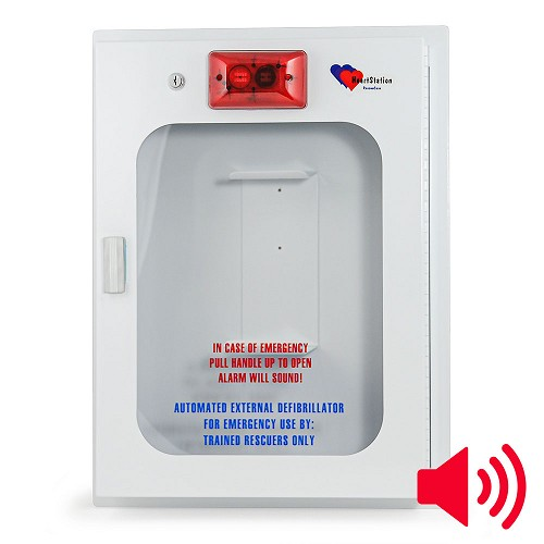 HeartStation Standard Size Semi-Recessed Mount AED Cabinet with Audible Alarm and Strobe Light