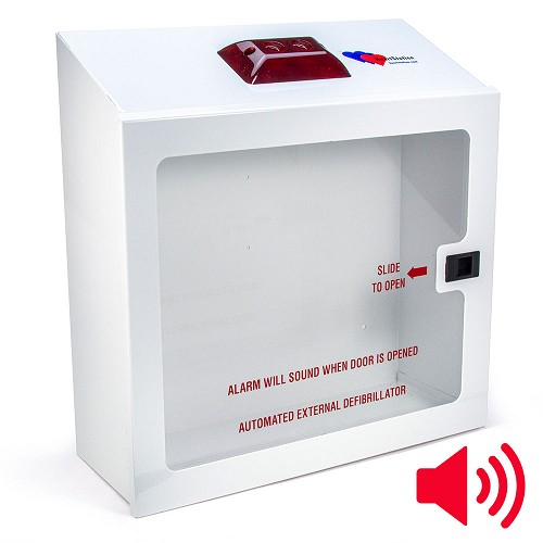 HeartStation Compact Surface-Mount AED Cabinet with Audible Alarm and Strobe Light