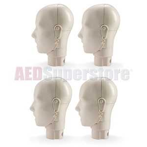 Prestan Jaw Thrust Head Assembly 4-Pack for the Professional Adult Light Skin Manikin