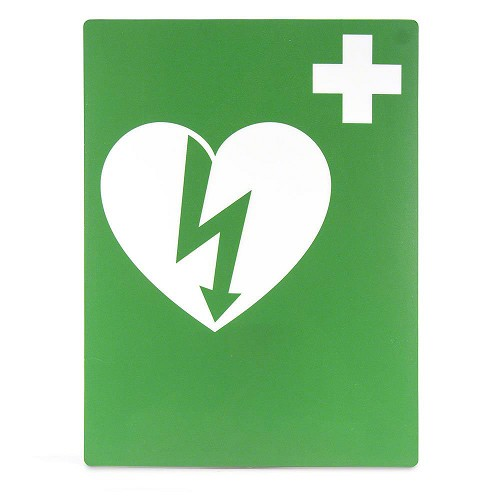 AED Flat Wall Sign for Resale - Green & White
