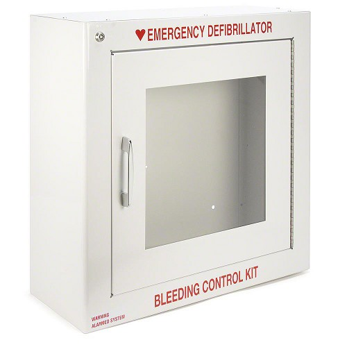 Standard Size AED Cabinet with Audible Alarm and Bleeding Control Kit Lettering