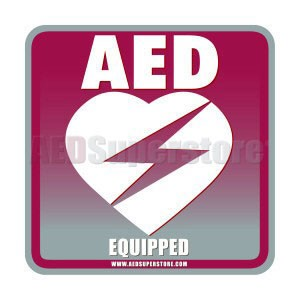 "AED Equipped Facility Window/Wall Decal - 4"" Square"