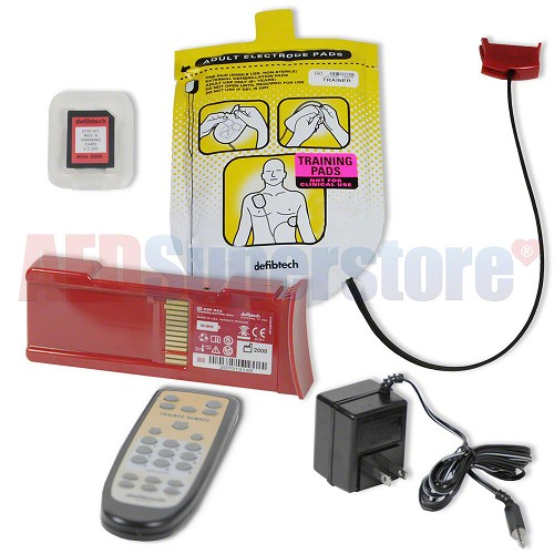 Defibtech Training Kit (w/Electrodes & Remote), Training Battery, Charger, Software