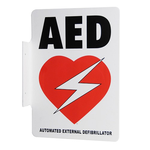 Perpendicular Flange Mount Automated External Defibrillator Wall Sign
