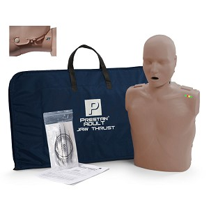 Prestan Professional Adult Jaw Thrust Dark Skin Manikin with CPR Monitor