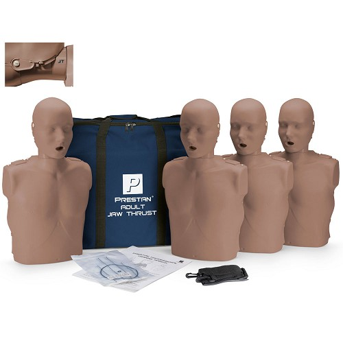 Prestan Professional Adult Jaw Thrust Dark Skin Manikin (4-Pack) without CPR Monitor