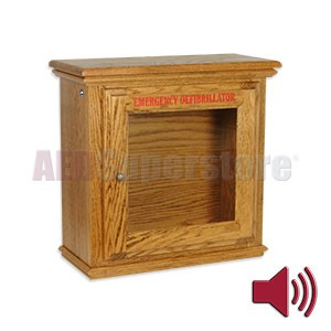 Hand-Crafted Wood Compact Size AED Wall Cabinet w/Alarm