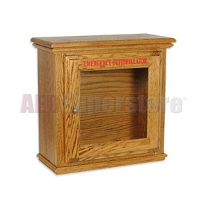 Hand-Crafted Wood Compact Size AED Wall Cabinet
