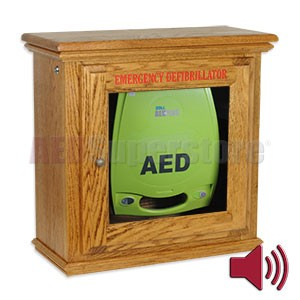 Hand-Crafted Wood Standard Size Alarmed AED Wall Cabinet for ZOLL AED Plus