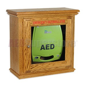 Hand-Crafted Wood Standard Size Basic AED Wall Cabinet for ZOLL AED Plus